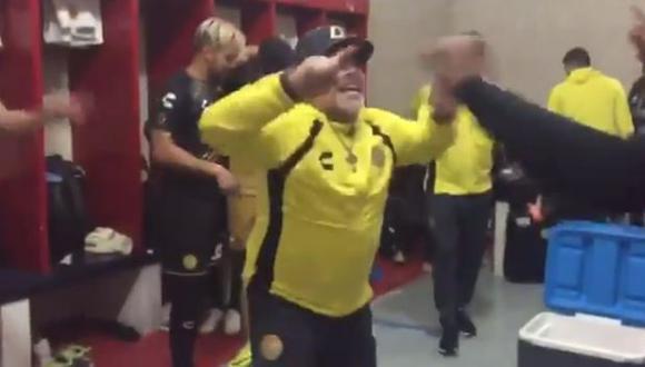 Diego Maradona festejó de forma efusiva la clasificación de Dorados de Sinaloa. (Captura: YouTube)