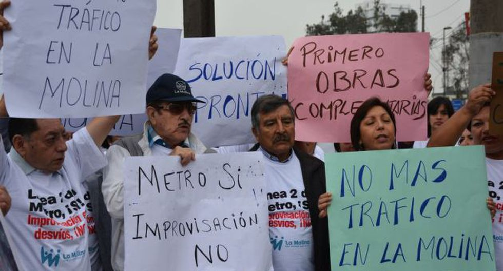 EN CONTRA. Vecinos no están de acuerdo con el plan de desvíos por la Línea 2 del Metro de Lima. (Municipalidad de La Molina)