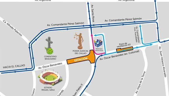 Este es el plan de desvío que se aplicará en la avenida Colonial desde esta semana. (ATU)