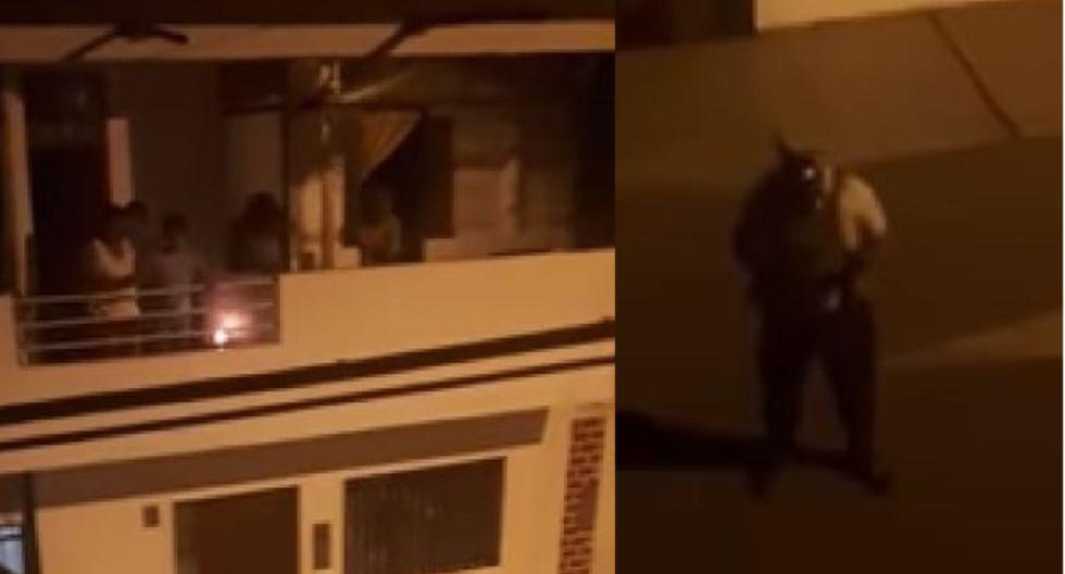 Trujillo: Familia reza desde el balcón de su casa junto a policía para vencer al coronavirus