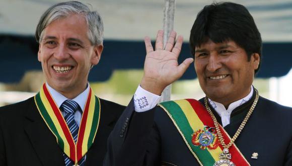 AL ATAQUE. Vicepresidente Álvaro García Linera (izq.) dice que ya se les acabó la paciencia con Chile. (AP)