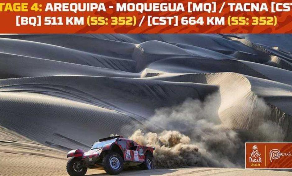 La etapa 4 del rally Dakar 2019 se correrá hasta Tacna, pero es más difícil porque será del tipo maratón. (Foto: Dakar 2019)