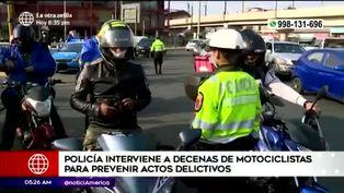Policía Nacional interviene motociclistas durante operativo sorpresa
