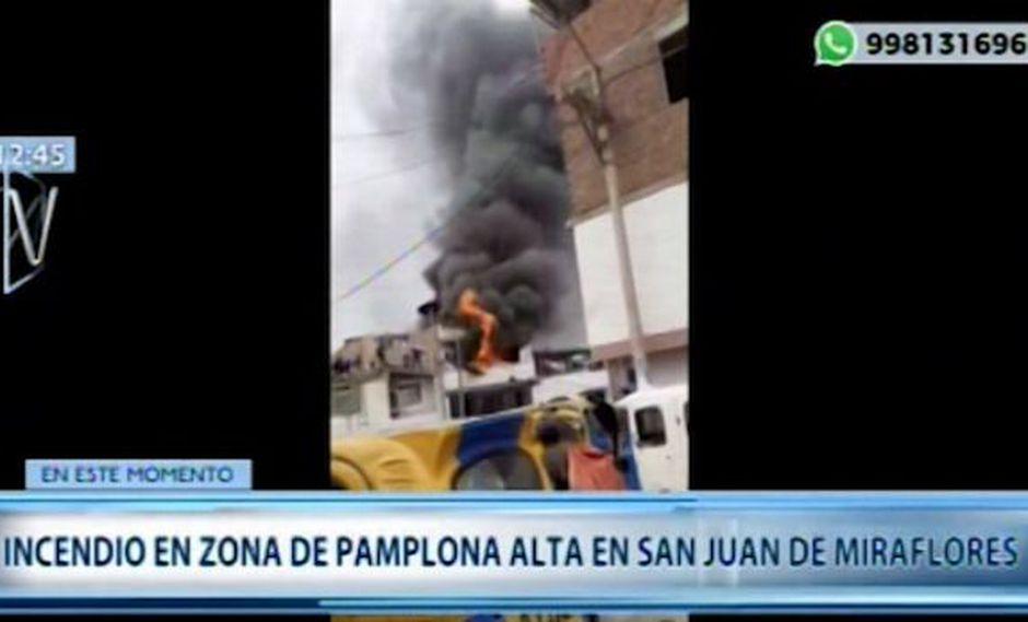Reportan incendio en vivienda de cuatro pisos ubicada en calle Santiago Antúnez de Mayolo, Pamplona Alta Nº100. (Canal N)
