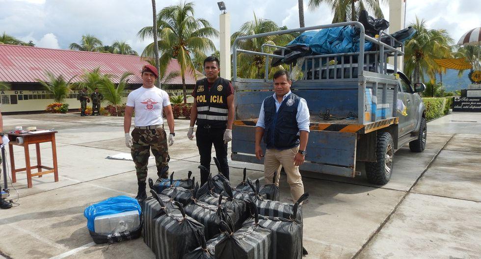 'Los Sinchis' de Mazamari incautaron cerca de media tonelada de cocaína y capturaron a un presunto integrante de una mafia. (GEC)