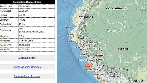 Mapa del sismo registrado esta mañana en Lima. (IGP)
