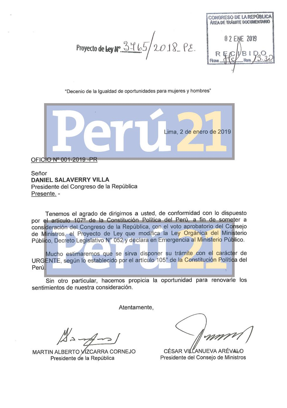 Este es el proyecto de ley para declarar en estado de emergencia el Ministerio Público