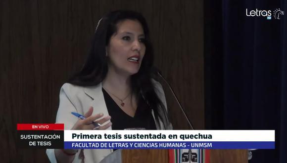 Roxana Quispe Collante pudo obtener el grado de doctora en Literatura Peruana y Latinoamericana en San Marcos. (Captura de video)