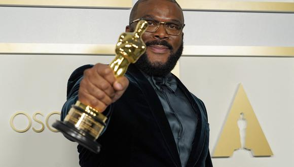 Tyler Perry, winner of the Jean Hersholt Humanitarian Award, poses in the press room at the Oscars on April 25, 2021, at Union Station in Los Angeles. (Photo by Chris Pizzello / POOL / AFP)