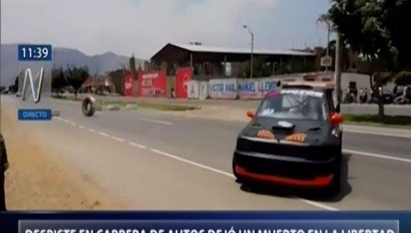 El despiste de un auto durante la feria de Guadalupe dejó un muerto y un herido en La Libertad. (Captura: Canal N)