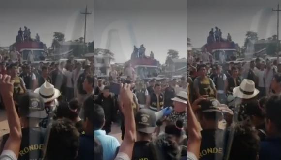 Ronderos retienen  y acusan a policías de robar y extorsionar a los pobladores en Huánuco. (Fotos: captura)