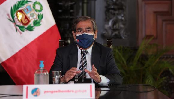 Ministro Óscar Ugarte se pronunció sobre el descenso de casos por COVID-19 en el país. (Foto: PCM)