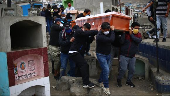 Unos hombres se paran junto al ataúd de una presunta víctima de COVID-19 en el cementerio de Nueva Esperanza, uno de los más grandes de América Latina. (Foto: Hugo Curotto/ GEC)