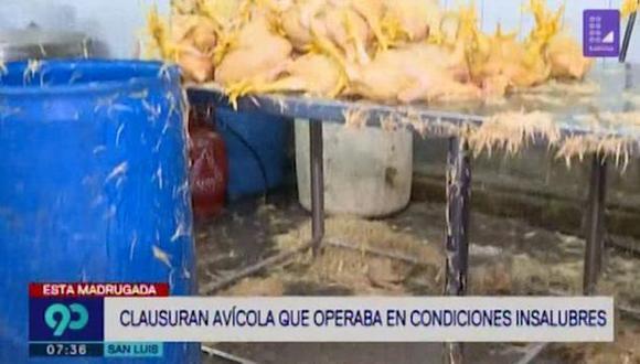 Clausuran avícola en San Luis. (Foto: Captura de video 90 Sábado)