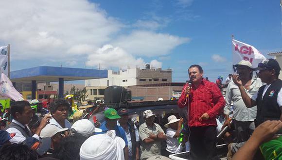 Jorge Rimarachín se mostró a favor de la huelga contra Tía María. (Miguel Idme)