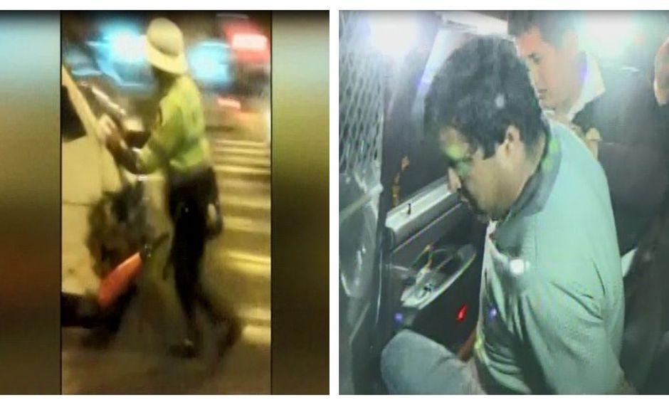 Capturan a conductor de combi que embistió a policía para escapar en San Borja. (Captura: América Noticias)