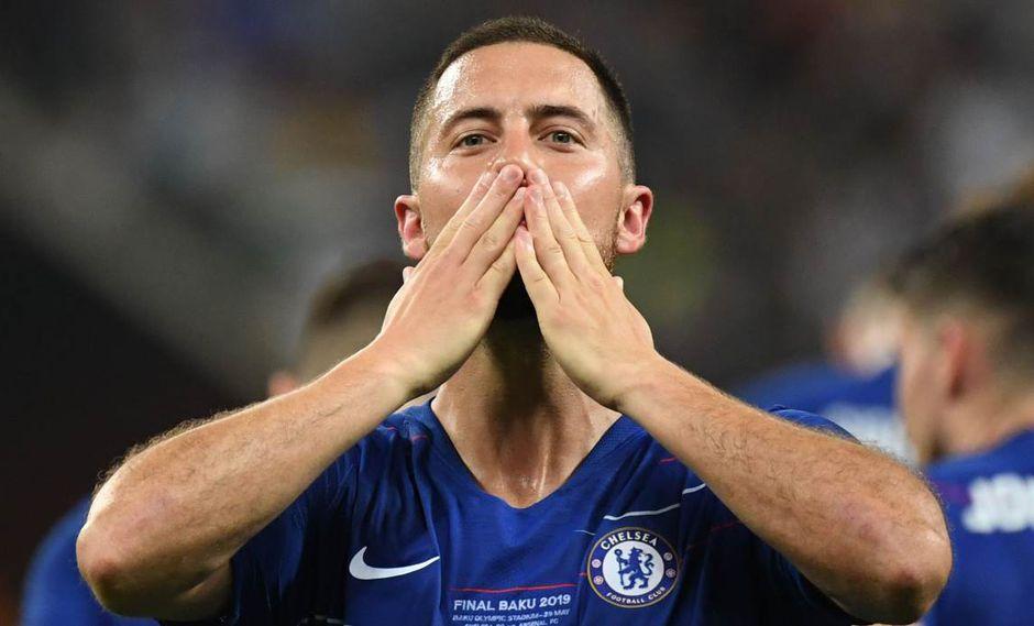 La despedida de Eden Hazard a toda la plantilla de Chelsea. (Foto: AFP)