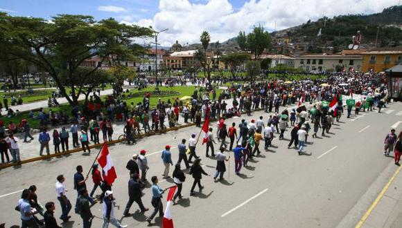 POCO APOYO. El primer día del nuevo paro convocado en Cajamarca atrajo a escasas 500 personas. (USI)