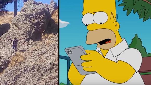 La figura de piedra apareció en la localidad de Huarina. Los residentes esperan que con esta roca con figura de Homero Simpson lleve crecimiento económico a Bolivia.|Foto: CNN/Fox