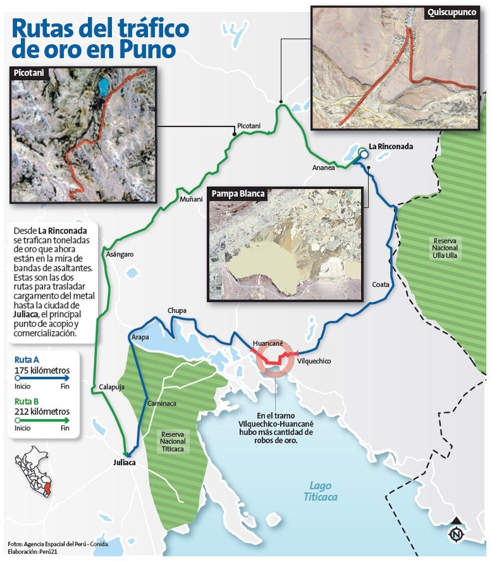 Las rutas de tráfico de oro en Puno