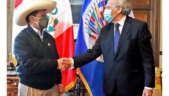 El presidente Pedro Castillo, recibió el saludo protocolar del secretario general de la OEA, Luis Almagro. (Foto: Presidencia)