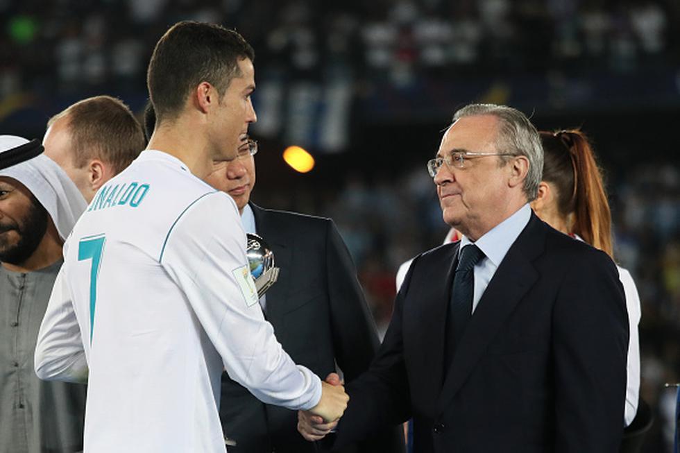 La relación entre Cristiano Ronaldo y el presidente del Real Madrid luce debilitada. (GETTY IMAGES)