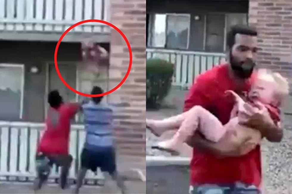 FOTO 1 DE 5   Un antiguo atleta atrapó a en el aire a un bebé lanzado de un edificio en llamas por su madre.  Crédito: ABC World News Tonight with David Muir en Facebook. (Desliza a la izquierda para ver más fotos)
