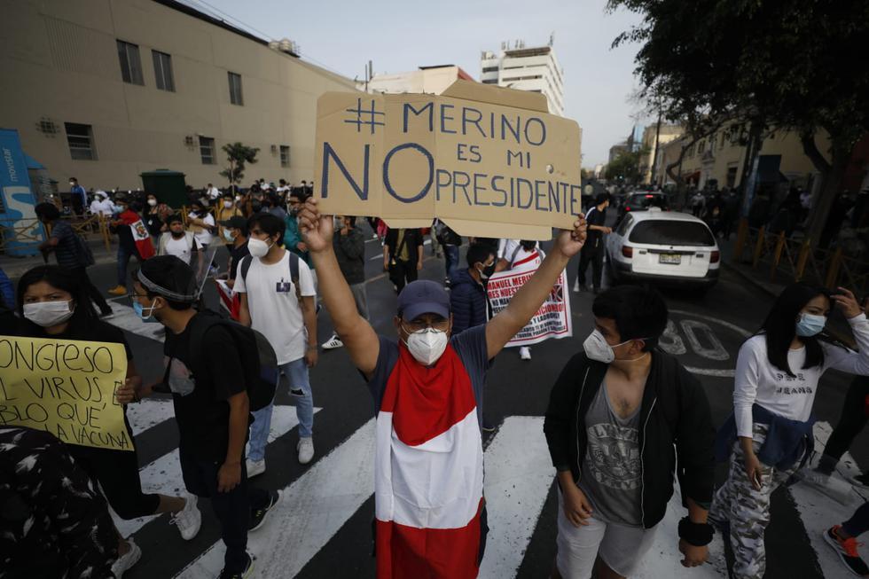 El descontento popular tras la asunción de Manuel Merino como presidente interino continúa. Al tercer día de la vacancia de Martín Vizcarra, las protestas se extienden por diversos distritos de la capital y el resto del país. (Foto: César Bueno | GEC)