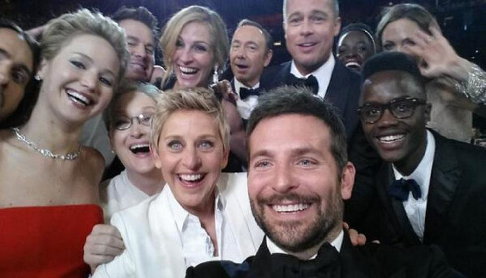 Selfie de Ellen DeGeneres en los Premios Oscar 2014, el más retuiteado de la historia.  (Twitter Ellen DeGeneres)