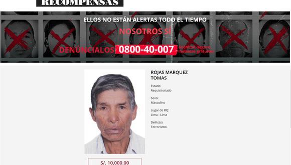 Tomas Rojas Márquez es integrante de la Base de Apoyo 21 del Comité Zonal Ayacucho de Sendero Luminoso.