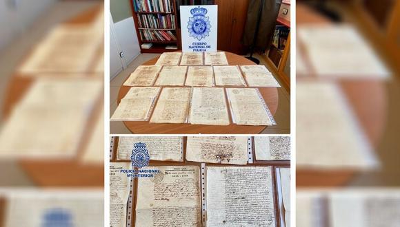 La Policía Nacional ha recuperado en Badajoz, en colaboración con la Organización Internacional de Policía Criminal (Interpol) y con la ·Embajada de Perú en España, un total de 28 manuscritos originales de la época del Virreinato del Perú, textos de gran valor histórico que habían sido puestos a la venta a través de Internet. (EFE/ Policía Nacional).