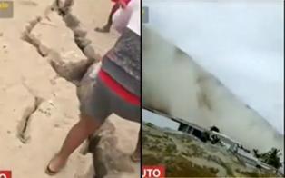 Piura: fuerte sismo de 6.1 causa grieta y deslizamiento de arena