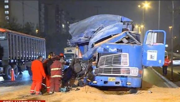 Accidente causó congestionamiento vehicular. (Foto: Captura/Latina)