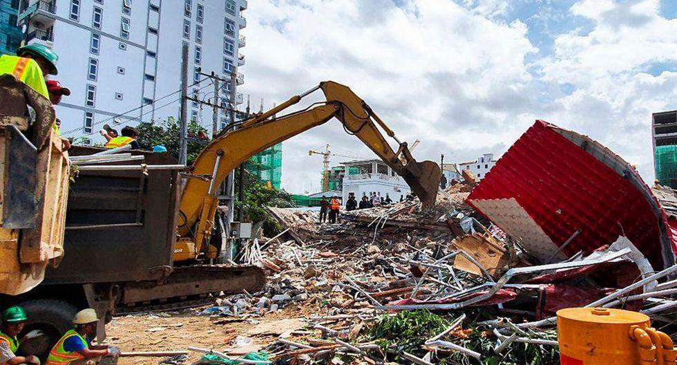 El derrumbe del edificio propiedad de una compañía china se produjo antes del amanecer. (Foto: AFP)