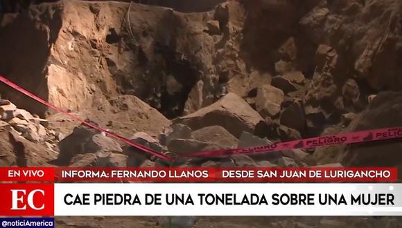 De acuerdo con 'América Noticias', la mujer llegó en horas de la tarde para trabajar picando las rocas del terreno. Al intentar fracturar una de las enormes piedras, esta le cayó encima y quedó aplastada. (Foto: Captura América Noticias)
