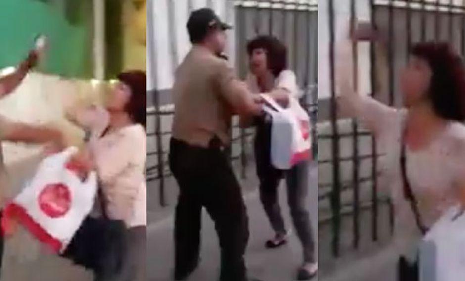 La mujer protagonizó vergonzosas imágenes en el exterior de un concurrido centro comercial. (Foto: Captura de pantalla)