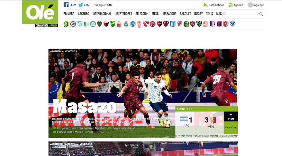 Las portadas en Argentina lamentaron que Lionel messi no haya tenido el regreso soñado. (Olé)