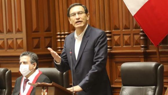 """""""Los grandes desafíos del Perú nos exigen actuar con sensatez y responsabilidad"""", señaló el mandatario. (Foto: Congreso)"""
