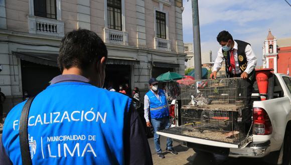 Venta ilegal de fauna silvestre. Los animales fueron decomisados por el personal del Departamento de Investigación Criminal (Depincri) del Cercado de la PNP y personal de Fiscalización de la Municipalidad de Lima.