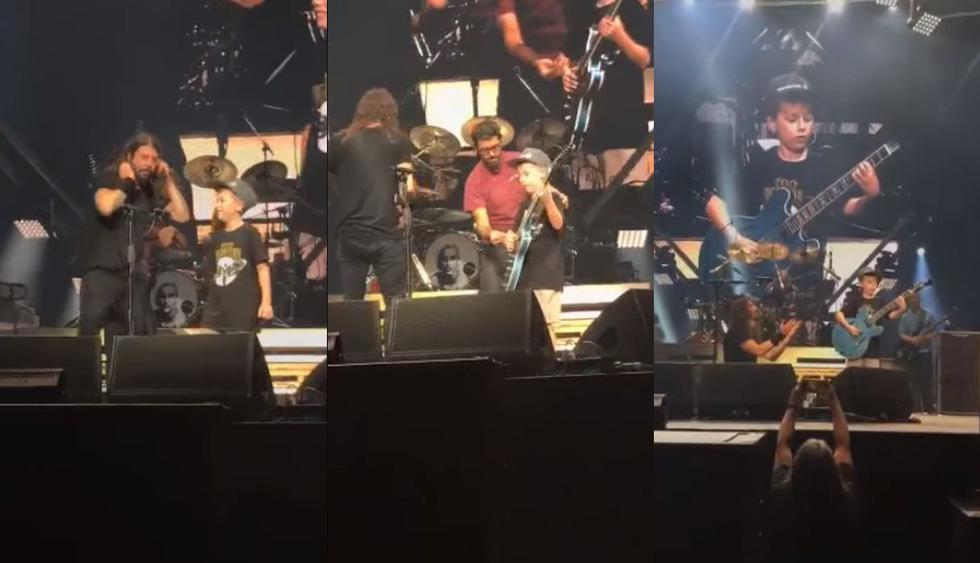 """El pequeño Carlier fue invitado por Dave Grohl, vocalista de los """"Foo Fighters"""", al escenario se volvió viral en un video de Facebook."""