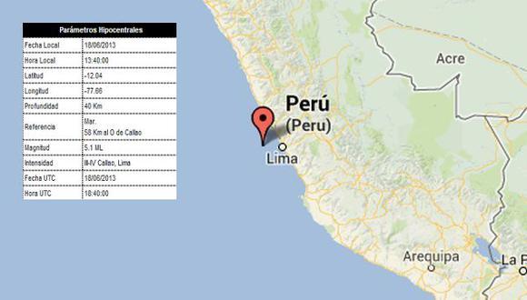 En un primer momento se reportó que el sismo fue de 5.6 grados. (IGP)