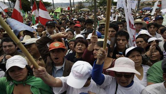 ESPANTAN INVERSIONES. Comuneros insisten en oponerse a proyecto minero en Cajamarca. (Rafael Cornejo)