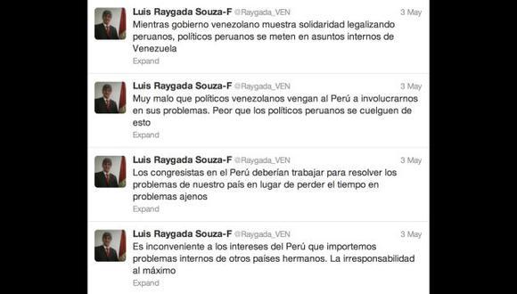 SE FUE DE BOCA. Estos tuits generaron la condena del Congreso. (Twitter)