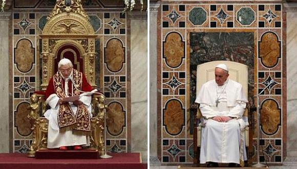 Buen gesto. Francisco dejó el trono de oro usado por Benedicto XVI. ¿La austeridad llegó al Vaticano? (AP)