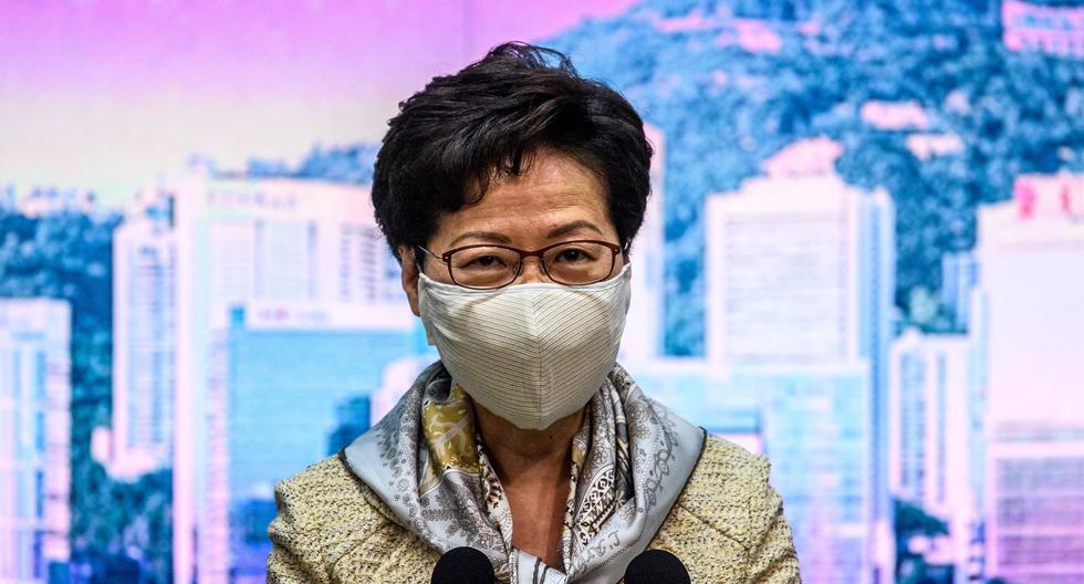 La nueva medida contra la acción del gobierno chino sobre Hong Kong es la más significativa desde que se implementó la nueva ley de seguridad. En la imagen, Carrie Lam. (Anthony WALLACE / AFP).