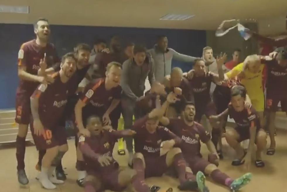 Celebración de los jugadores del Barcelona. (Facebook @365Scores.LATAM)