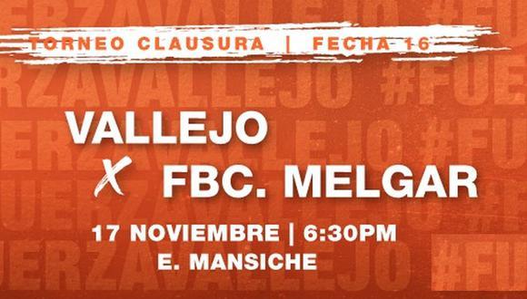 César Vallejo vs. Melgar EN VIVO por la Liga 1 Torneo Clausura desde Trujillo vía Gol Perú