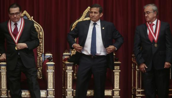 EN SUS TRECES. Presidente Ollanta Humala asistió al inicio del año judicial en la sede del Poder Judicial. (Mario Zapata)