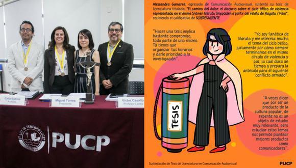"""Universitaria obtiene su título con grado """"sobresaliente"""" tras sustentar tesis sobre Naruto. (PUCP)"""