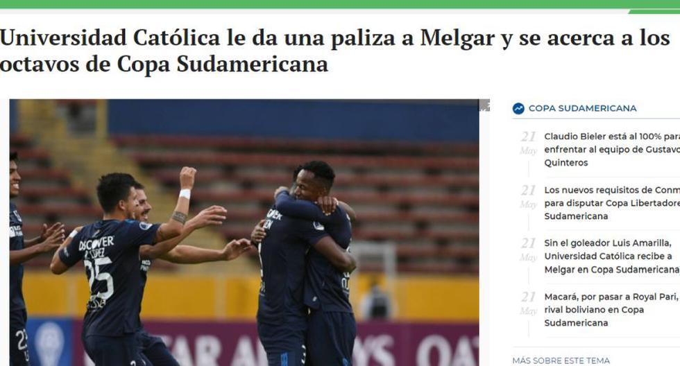 Así reaccionaron los medios ecuatorianos tras la goleada de la Universidad Católica a Melgar.